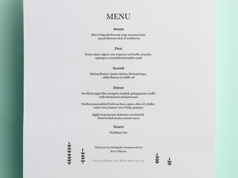Dinner Menu typography design food baskerville wedding menus meals print dinner menu