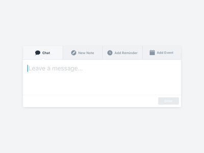 CRM Actions management ux ui minimal clean add event add reminder new note chat web app web crm