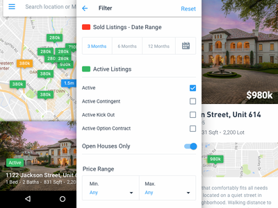 Android Filters ui ux design search map real estate filters clean mobile android