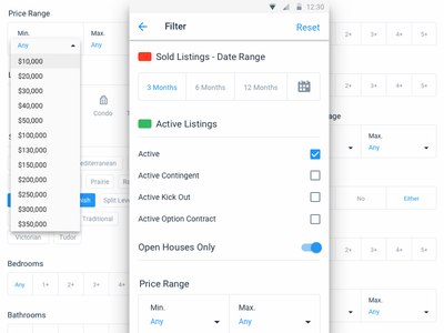 Android Filters More ui ux design search map real estate filters clean mobile android