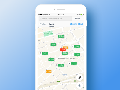 Search Map minimal clean design ux ui ios pin map pins search map real estate