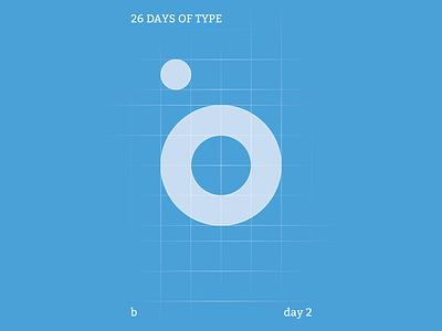 b : 26 Days of Type Version 2 blue typography illustration branding flat illustrator design clean