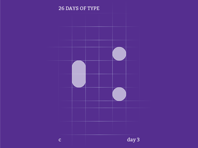 c : 26 Days of Type abstract type create purple color typography identity flat illustrator design clean