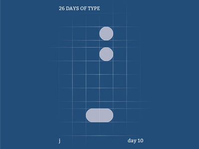 j : 26 Days of Type abstract typography flat illustrator design clean