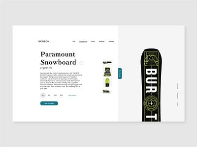 Burton Product Page Concept desktop illustrator website web ux ui identity flat design clean branding