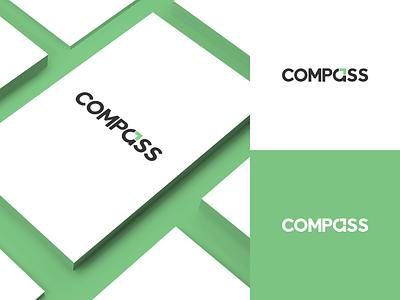 Compass Logo typography illustrator logo identity flat design clean branding