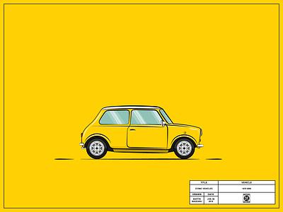 Mini mini yellow britain british vehicles vector simple illustrator illustration flat drawing design cool clean classic car