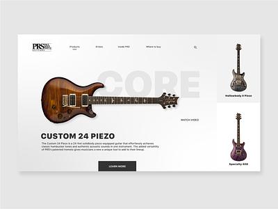 PRS Guitar Product Page Concept web design concepts white website web ux ui music minimal illustrator identity guitar grey flat desktop design desktop design concept clean branding