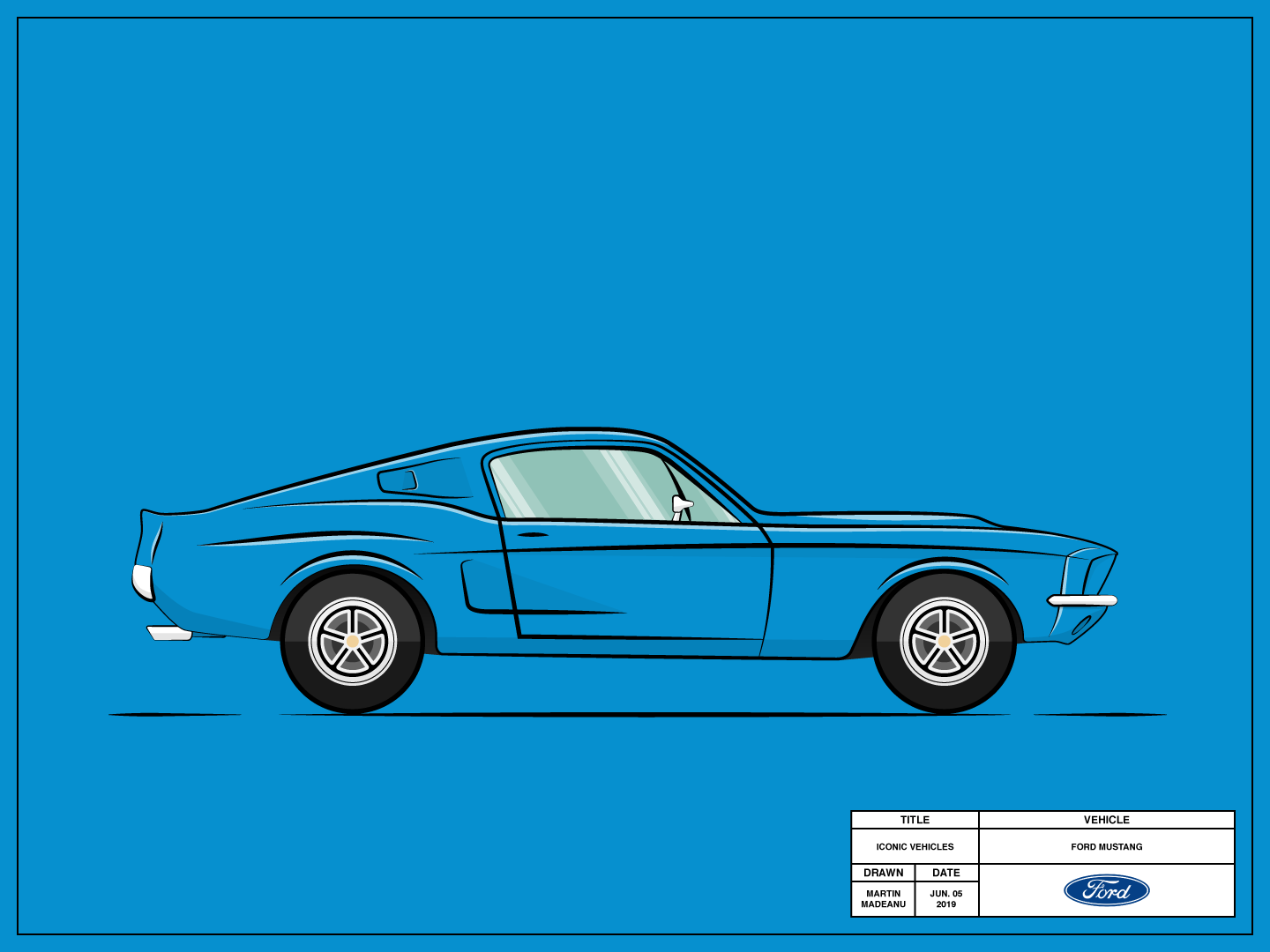 Ford Mustang blue vehicles vector simple illutrator illustration flat drawing design cool clean classic car american america