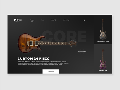 PRS Guitar Product Page Dark Theme Concept