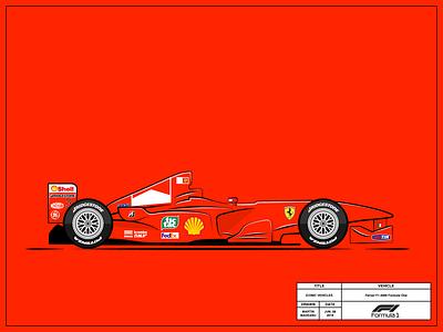 Ferrari F1-2000 formula one ferrari vehicles vector simple illustrator illustration flat drawing design cool clean classic car red