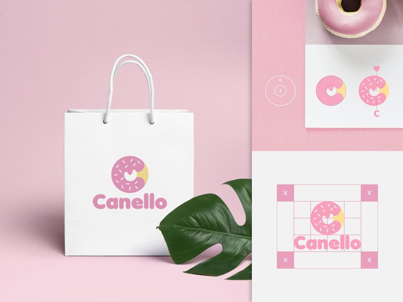 Canello food grid pink donut illustration minimalist initial logo logo designer identity brand