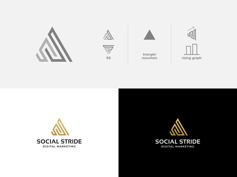 Social Stride typography mark minimal letter minimalist initial identity brand logo designer logo