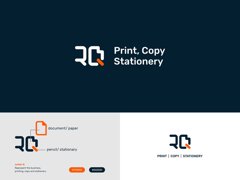 RQ Print, Copy, Printing mark initial letter minimalist logo designer logo identity brand