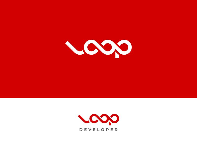Loop minimalist minimal simple design wordmark typography red loop logo