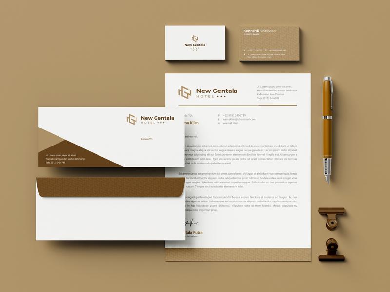 New Gentala Hotel brand identity hotel minimal minimalist stationary stationery design visual identity g n ng letter initial monogram identity branding brand logo