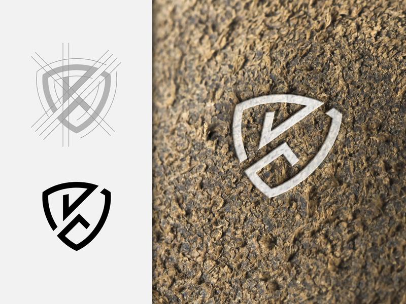 Letter K + Shield shield k design typography initial mark minimalist minimal letter logo designer logo identity brand