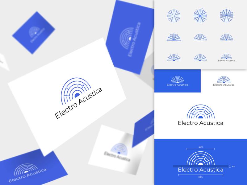 Electro Acustica Logo Design blue design typography initial letter mark minimalist minimal identity brand logo designer logo