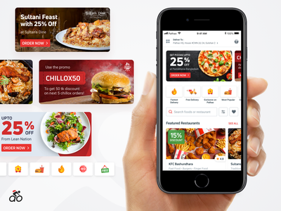 Pathao Food 3.0 - Discovery Experience Revamp card coupon redesign design homepage pathao illustration app ux ui