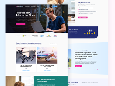 Website of a Drone and Airplane Training Institute ux web design drone training pilot landing homepage ui
