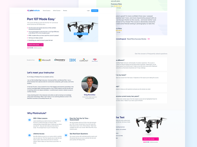 Product Page of a Drone Training Institute's Website minimal features page trainings drone product page web ux ui