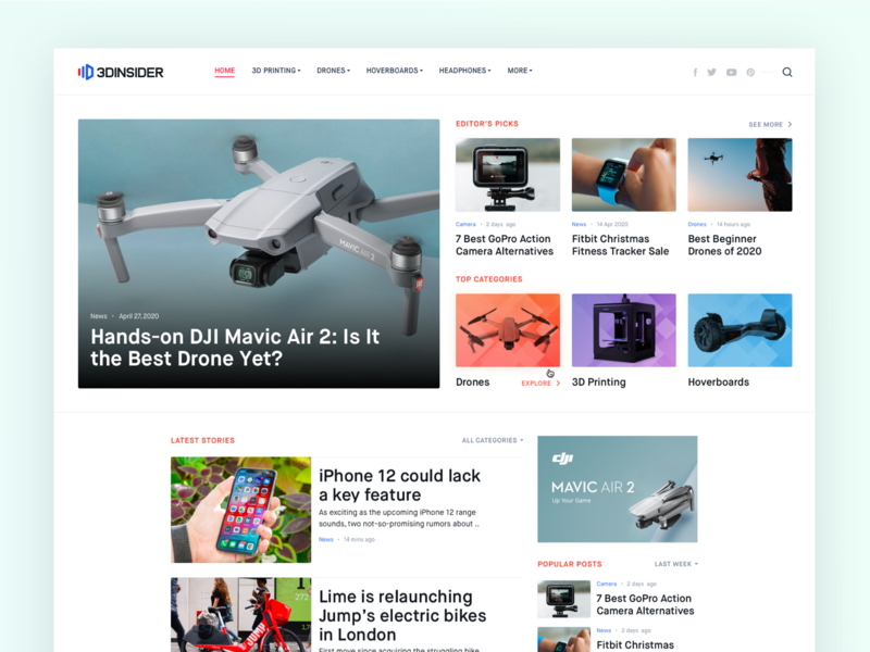 Technology News Publication Website clean ux ui homepage website design technology