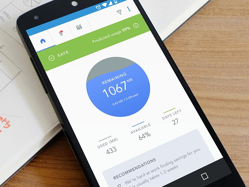 Dashbaord: Data Usage Tracker App ux professional meter data internet usage app anroid material clean dashboard ui