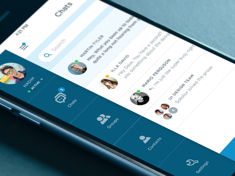 Menu & Chats of an iOS messaging app ios group ui app messaging chat clean dashboard menu