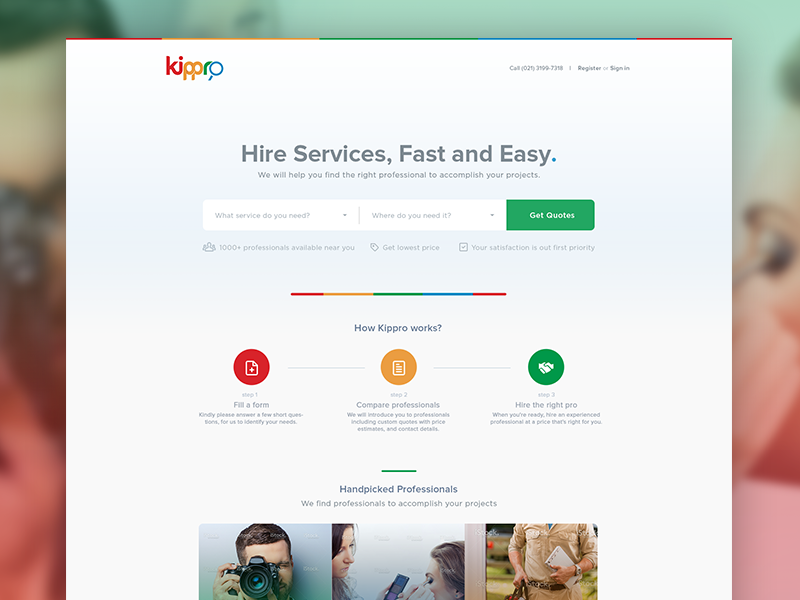 Kippro Homepage services hire professional minimal homepage page landing ui web