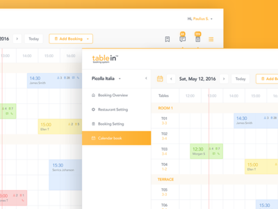 Calendar of tablein Dashboard