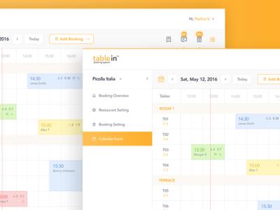 Calendar of tablein Dashboard colors minimal booking table time design admin web ux ui dashboard calendar