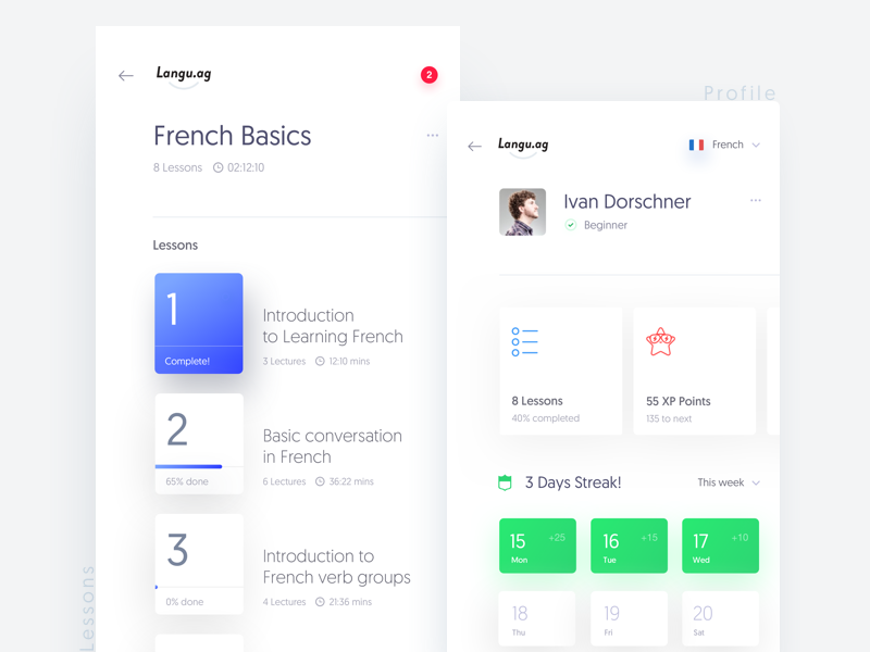 Language Learning App profile lessons progress cards learn french language minimal clean app ux ui