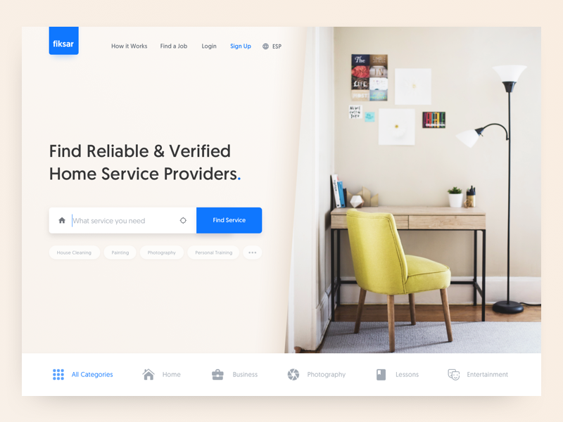 Fiksar: Home services landing page freebie