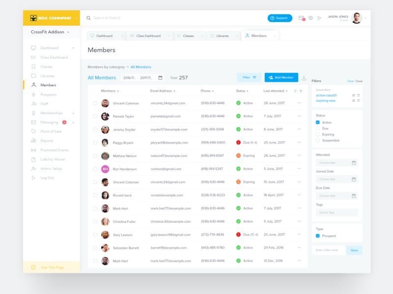 Members List minimal graph report member filters gym clean ui ux dashboard