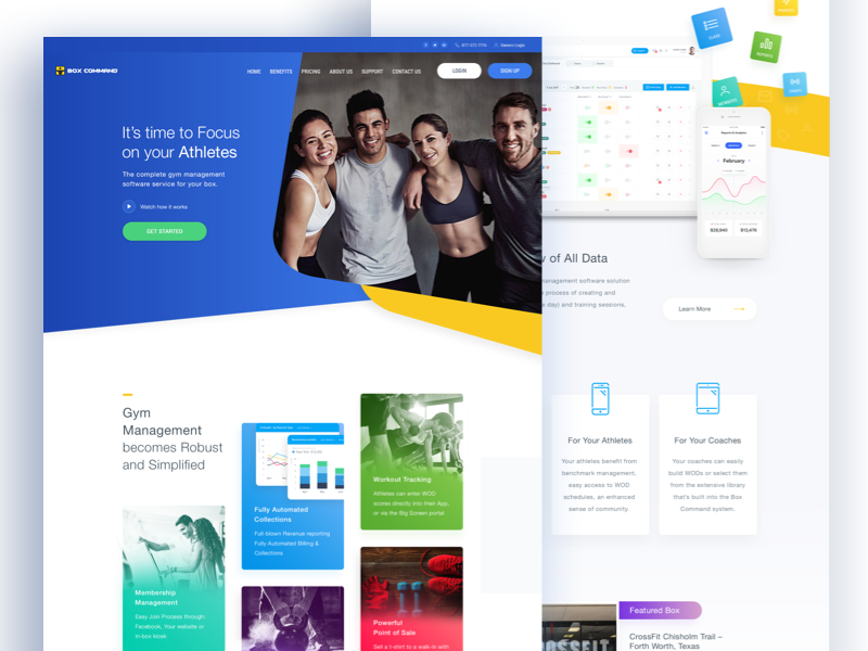 Gym Homepage health crossfit workout gym athletes colors clean homepage landing ui ux