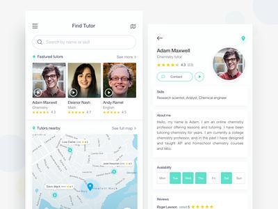 Find Tutor ux ui tutor search find clean minimal teacher profile listing trendy