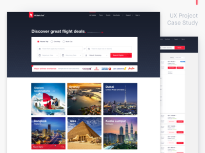 Flight Booking Made Simple - UX Case Study sketch clean ui air ticket flight booking case study ux design