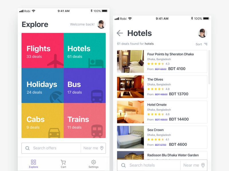 Explore Deals discount ux listing hotels explore modern clean app ui sale deal