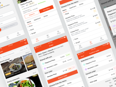 Eatly - Share Restaurants Menu menu check-out check-in order friends ux sharing food restaurant app ui