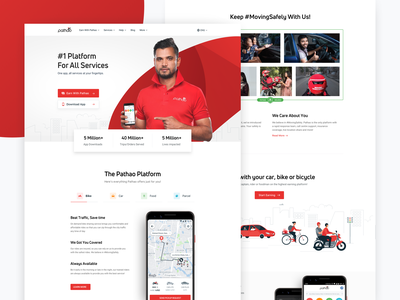 Pathao Homepage pathao illustration landing page web landing homepage clean ux ui