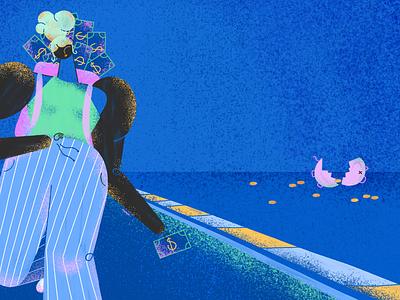 Saving for a short-term goal editorial illustration digital 2d art direction illustration