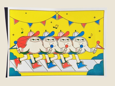 Drums - Risograph drumsticks drumstick yellow blue red flags creative art design riso risoprint illustrator parade drums color character illustration character design risography risograph