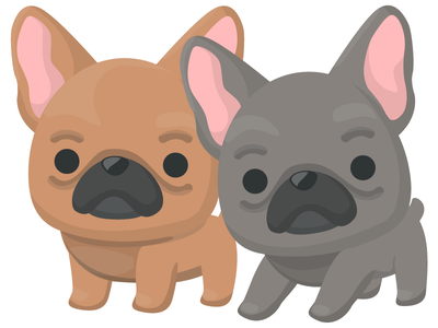Frenchies cute dog flat vector illustration