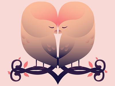 Lovebirds cute bird animal vector illustration