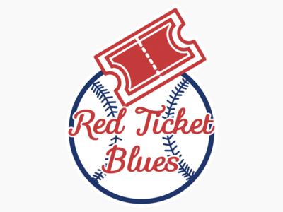 Red Ticket Blues Logo color design flat logo