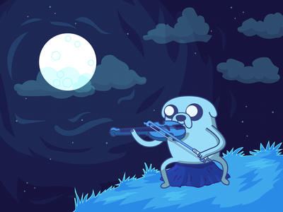 Adventure Time Jake  night moon viola cute blue vector illustration jake adventure time