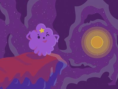 Lumpy Space Princess space sun cute purple vector illustration lsp lumpy space princess adventure time