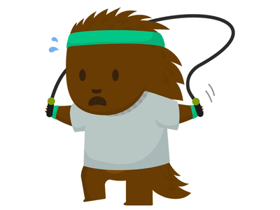 Exercise Puck picks jump rope exercise jumping health porcupine mascot flat cute illustration vector