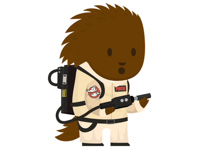 Ghostbuster Puck scary halloween ghostbuster ghost paranormal picks porcupine mascot flat cute illustration vector