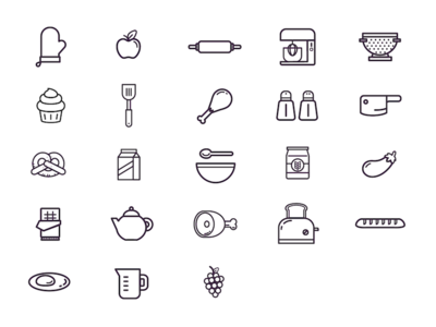 Cooking Icons linear icons kitchen food cook